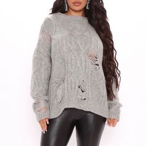NWT Fashion Nova Do It Like Me Distressed Sweater